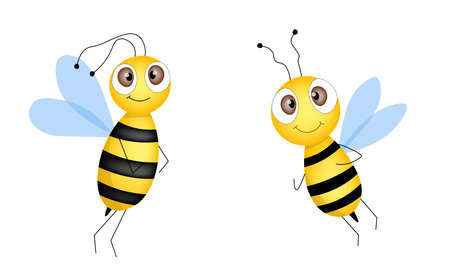 Set of cartoon bee mascot. A small bees flying. Wasp collection. Vector characters. Incest icon. Template design for invitation, cards. Doodle style