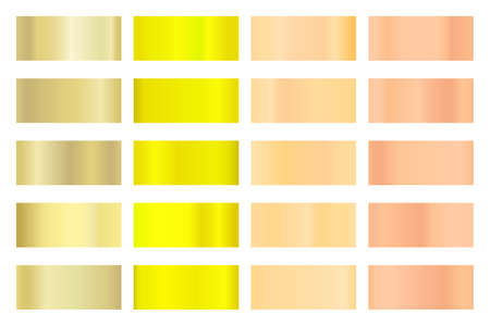 Metalic gradient collection with shiny golden hologram. Holographic foil texture, gold rose, bronze and gold gradation. Vector set for frame, ribbon, border, other design 矢量图片