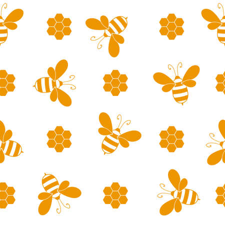 Seamless pattern with bees and honeycombs on white background. Small wasp. Vector illustration. Adorable cartoon character. Template design for invitation, cards, textile, fabric. Doodle style Иллюстрация