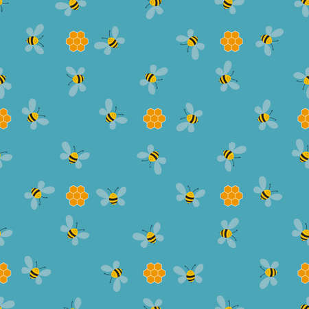 Seamless pattern with bees and honeycombs on color background. Small wasp. Vector illustration. Adorable cartoon character. Template design for invitation, cards, textile, fabric. Doodle style