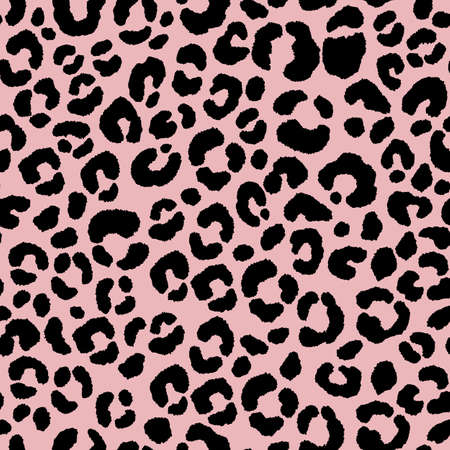Abstract modern leopard seamless pattern. Animals trendy background. Black and pink decorative vector illustration for print, card, postcard, fabric, textile. Modern ornament of stylized skin