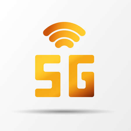 Vector golden icon network sign 5G. 5g internet technology symbol in minimalism style. Business infographic. Vector template design for creative business concept, banner, workflow layout
