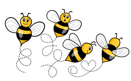 Set of cartoon bee mascot. A small bees flying on a dotted route. Incest icon.
