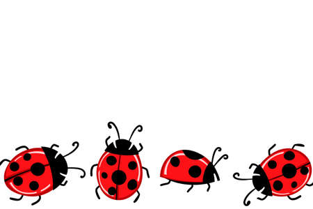 Cartoon cute colorful ladybird mascot. Ladybags with an empty table. Vector character. Insect icon. Holiday template design for invitation, cards, wallpaper, school, kindergarten. Copy space Stock Illustratie