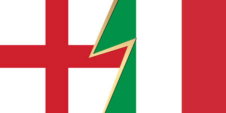 Flag of England and Italy flag. Squared pattern, template icon. Two vector flags English and Italian national symbol. 3D abstract vector illustration of relationship or confrontation