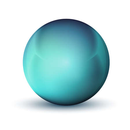 Glass blue ball or precious pearl. Glossy realistic ball, 3D abstract vector illustration highlighted on a white background. Big metal bubble with shadow Stock Illustratie
