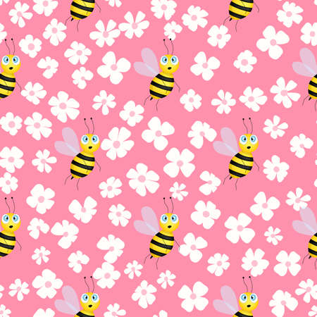 Seamless pattern with bees and flowers on color background. Small wasp. Vector illustration. Adorable cartoon character. Template design for invitation, cards, textile, fabric. Doodle style