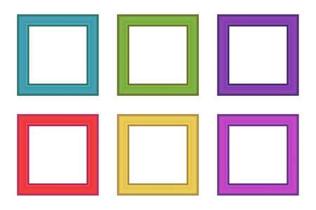 Set of squared color vintage wooden frame for your design. Vintage cover. Place for text. Vintage antique colorful modern rectangular frames. Template vector illustration