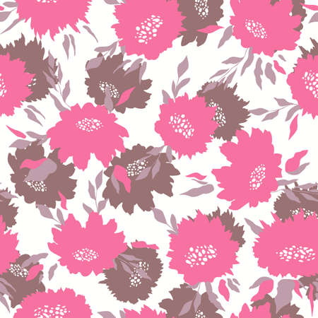 Floral seamless with hand drawn color roses. Cute summer background with flowers and leaves. Modern floral compositions. Fashion vector stock illustration for wallpaper, posters, card, fabric, textile