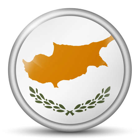Glass light ball with flag of Cyprus. Round sphere, template icon. National symbol. Glossy realistic ball, 3D abstract vector illustration highlighted on a white background. Big bubble Stock Illustratie