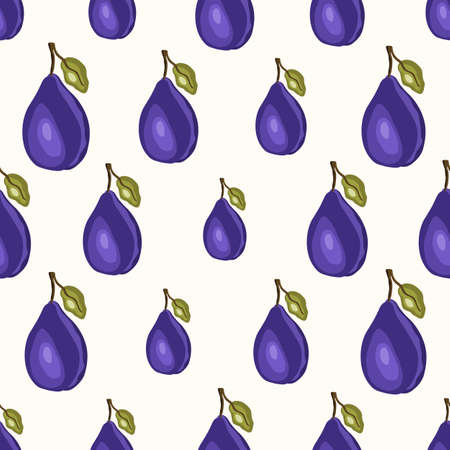 Seamless pattern with plum on white background. Natural delicious fresh ripe tasty fruit. Vector illustration for print, fabric, textile, banner, other design. Stylized plums with leaves.