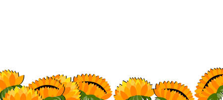 Happy birthday, holiday, celebration greeting and invitation card. Colorful floral banner with sunflowers on light background. Layout template. Modern floral summer composition. Copy space