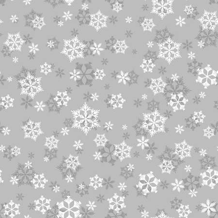 Winter seamless pattern with white snowflakes on grey background. Vector illustration for fabric, textile wallpaper, posters, gift wrapping paper. Christmas vector illustration. Falling snow