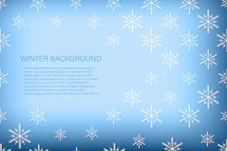 Christmas card with white snowflakes on blue background. Isolated snowflakes icon. Empty paper shape. Winter cartoon flat illustration. Copy space. Holiday pattern, banner, frame, greeting card design