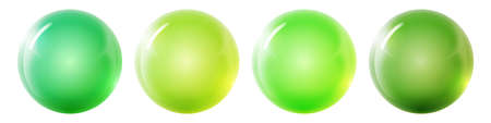 Set with glass colorful balls. Glossy realistic ball, 3D abstract vector illustration highlighted on a white background. Big metal bubble with shadow