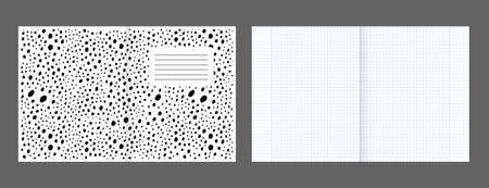 School notebook cover and realistic lined paper blank size reversal A5. Graph paper. Printable squared grid paper with color lines. Geometric background for school, book, diary Stock Illustratie