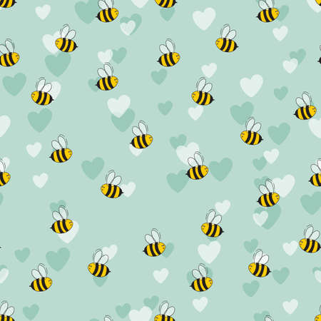 Seamless pattern with bees and hearts on color background. Small wasp. Vector illustration. Adorable cartoon character. Template design for invitation, cards, textile, fabric. Doodle style