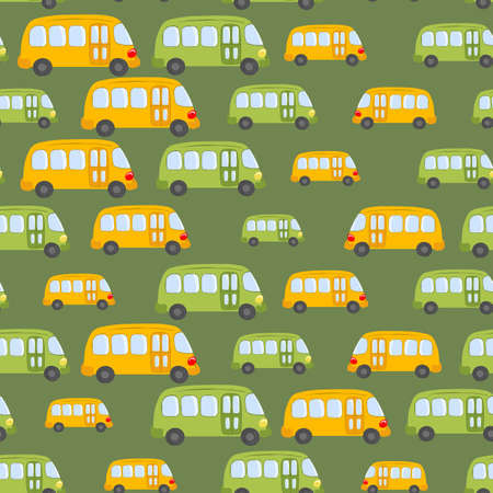 Seamless pattern with cute bus, car on green background. Cartoot transport. Vector illustration. Doodle style. Design for baby print, invitation, poster, card, fabric, textile
