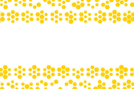 Background with golden honeycomb shapes. Vector illustration. Pattern with glitter effect. Template texture for invitation, poster, card, banner, announcements and others. Copy space