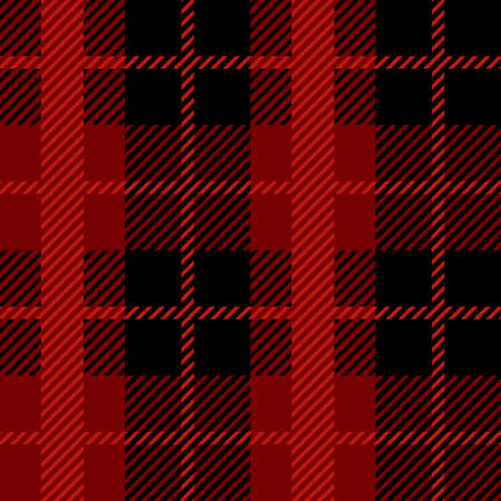 Red and black Scotland textile seamless pattern. Fabric texture check tartan plaid. Abstract geometric background for cloth, card, fabric. Monochrome graphic repeating design. Modern squared ornament. Stock Illustratie