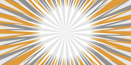 Pop art radial colorful comics book magazine cover. Striped grey digital background. Cartoon funny retro pattern strip mock up. Vector halftone illustration. Sunburst, starburst shape