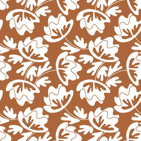 Seamless floral pattern based on traditional folk art ornaments. Modern flowers on color background. Scandinavian style. Sweden nordic style. Vector illustration. Simple minimalistic pattern