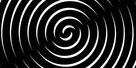 Swirl hypnotic black and white spiral. Monochrome abstract background. Vector flat geometric illustration.Template design for banner, website, template, leaflet, brochure, poster Stock Illustratie