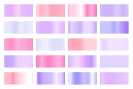 Metalic gradient collection with shiny colorful hologram. Holographic foil texture, gold rose, blue and golden gradation. Vector set for frame, ribbon, border, other design Stock Illustratie