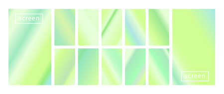 Mobile screen lock display collection of colorful backgrounds in trendy neon colors. Modern screen vector design for mobile app. Soft color abstract pastel holographic gradients. Swatches for design