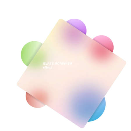 Modern background with glass morphism vector effect. Transparent glass card design. Glassmorphism trend style. Abstract banner with colored, white circles with blur and shadows. Vector illustration Stock Illustratie