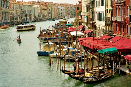 Grand Canal with gondolas and tourists  Venice, Italy