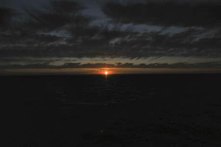 Sparkling sunset above  sea Stock Photo