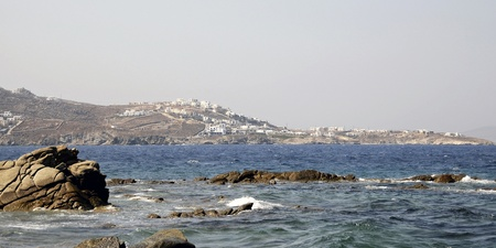 A view of the Mykonos town from the sea