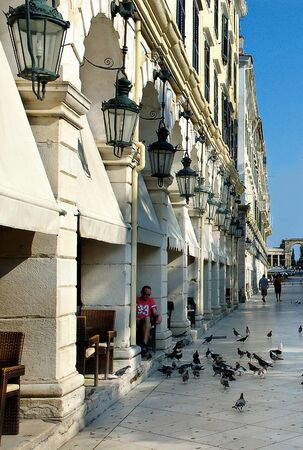 Central plaza of Corfu, Greece Editorial