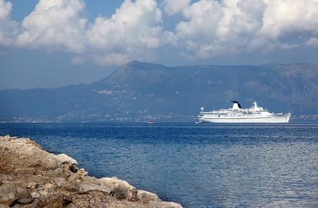 A cruise ship  Princess Daphne  at anchor in bay of Corfu Greece Stock Photo - 13511818
