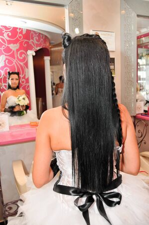 Rear view of a bride with wedding hairstyle