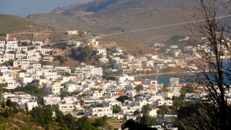 theologian:             Greece Dodecanese Islands Patmos Skala viewed from Monastery of Saint John the Theologian Stock Photo