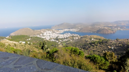 Greece Dodecanese Islands Patmos Skala viewed from Monastery of Saint John the Theologian