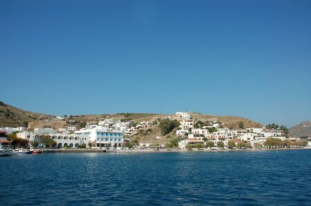 dodecanese: Greece Dodecanese islands Patmos Skala viewed from the Aegean sea