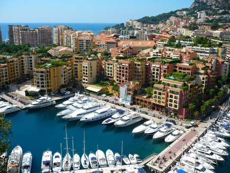 monaco: View of luxury yachts in harbor of Monaco Stock Photo