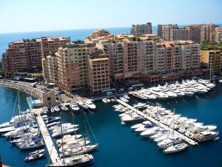 View of luxury yachts in harbor of Monaco Stock Photo