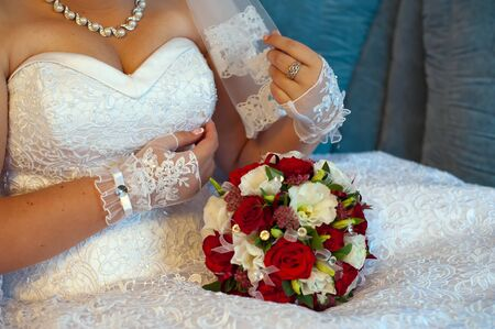 wedding bouquet of red and white flowers Stock Photo