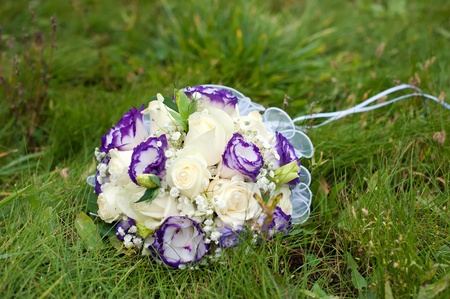 wedding bouquet of blue and white flowers