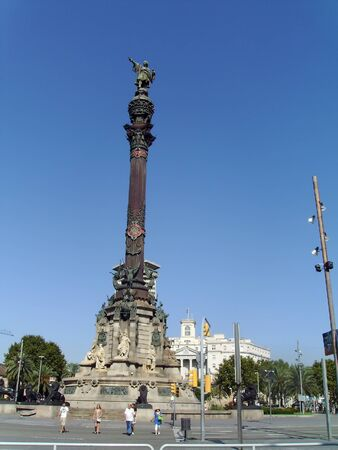 Columbus Monument located at the end of Ramblas Street at Barcelona, Spain  Editorial