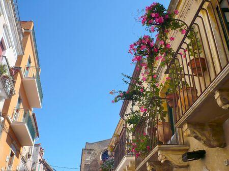 Flowered balcony in Taormina  Sicily   Stock Photo