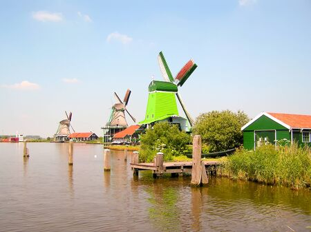 Windmills at ZAANSE SCHANS in holland  photo