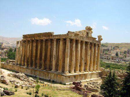bacchus: Facade of Baahus temple in Baalbeck, Lebanon