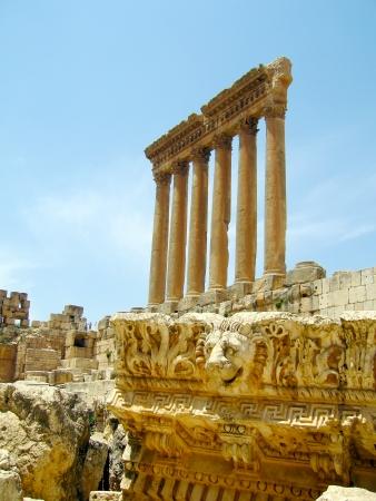 Roman ruins of Baalbek Acropolis; Lebanon   Stock Photo