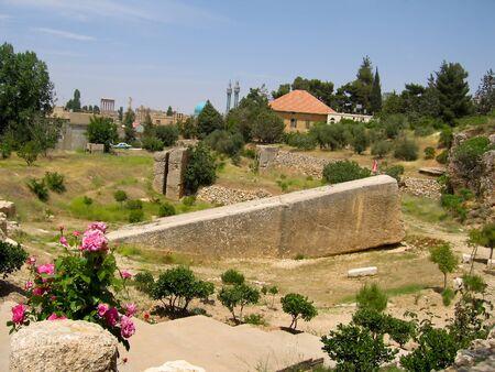 Baalbek ruins - seen morning time   Stock Photo