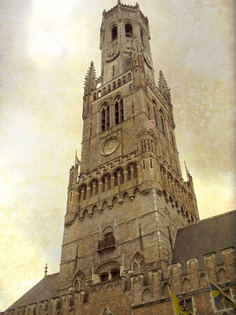 Artistic picture in retro style  Old town of  Bruges, Belgium Editorial